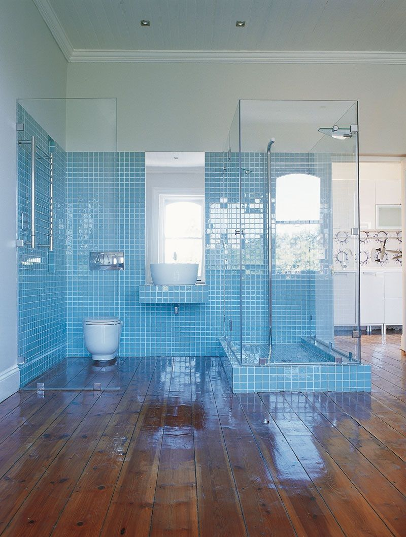 Light Blue Tile Bathroom | nesting twigs | Pinterest | Blue tile ...