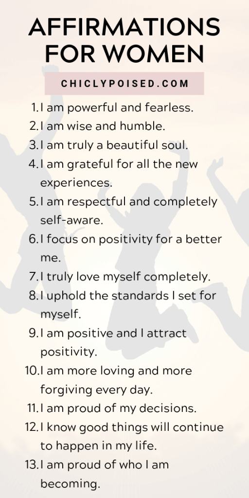 Positive Affirmations List | Chiclypoised