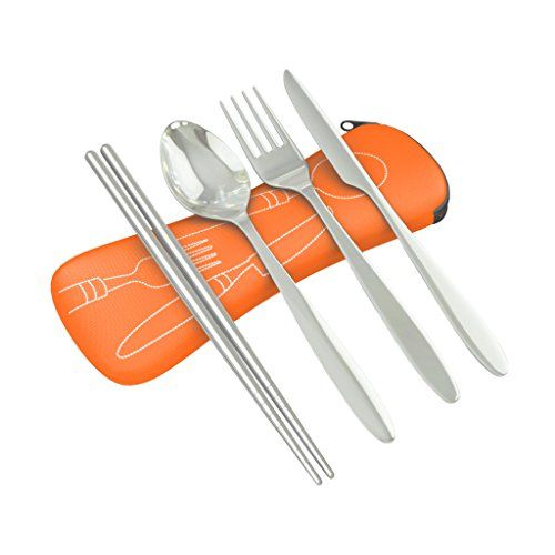 4 Piece Stainless Steel Knife Fork Spoon Chopsticks Lightweight Travel  Camping Cutlery Set with Neoprene Case orange >>> Click on the image for additional details.