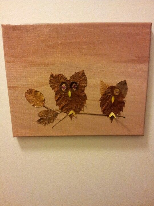 Dry leaves design on canvas  | Craft | Nature crafts, Fall