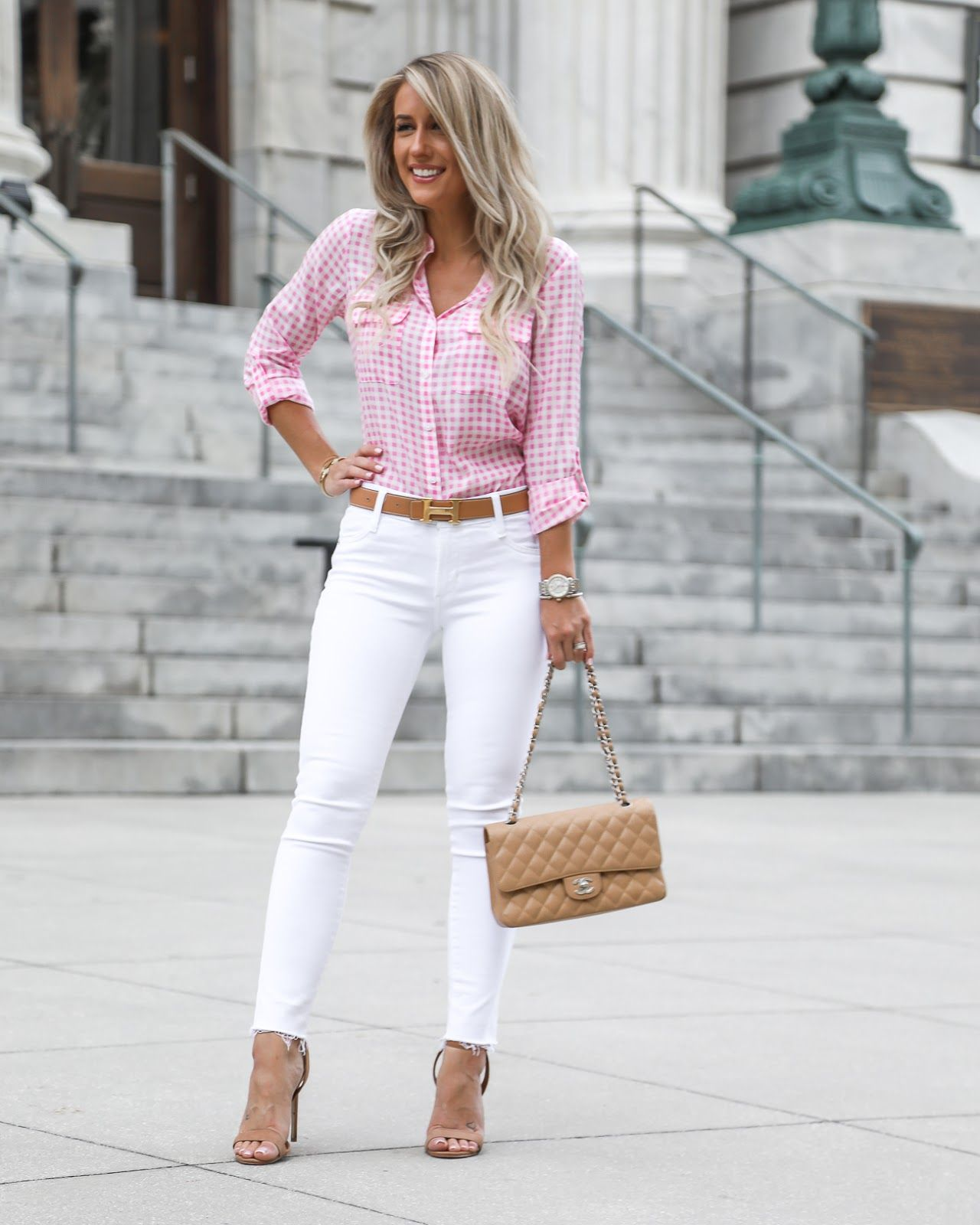 Pink White Gingham Styled Adventures Pink Shirt Outfit Gingham Shirt Outfit Gingham Fashion