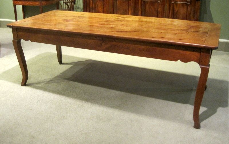 19th Century French Farmhouse Table A Fine 19th Century French Fruitwood Farmhouse  Table, With