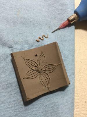 Little Garden Pottery: Slip trailing glaze test tiles in the new pottery studio. #botanicalpottery #potterystudio  #sliptrailingtechniques #botanicalceramics
