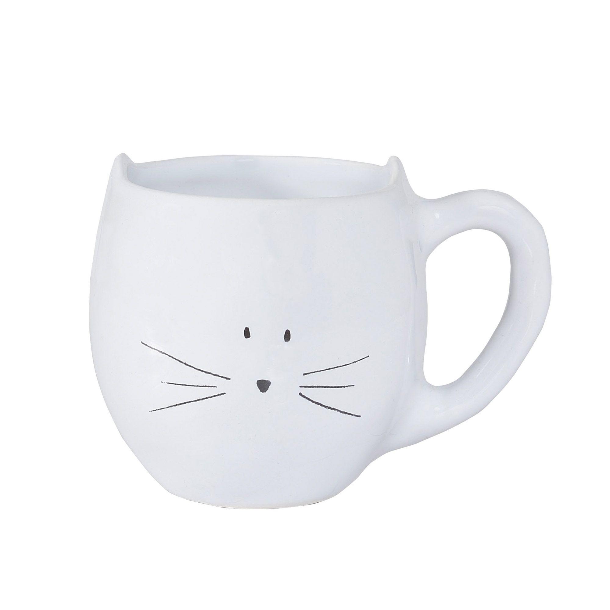 Tasse en faience blanche motifs chats H.9cm MOUSTACHE | 4 table ...