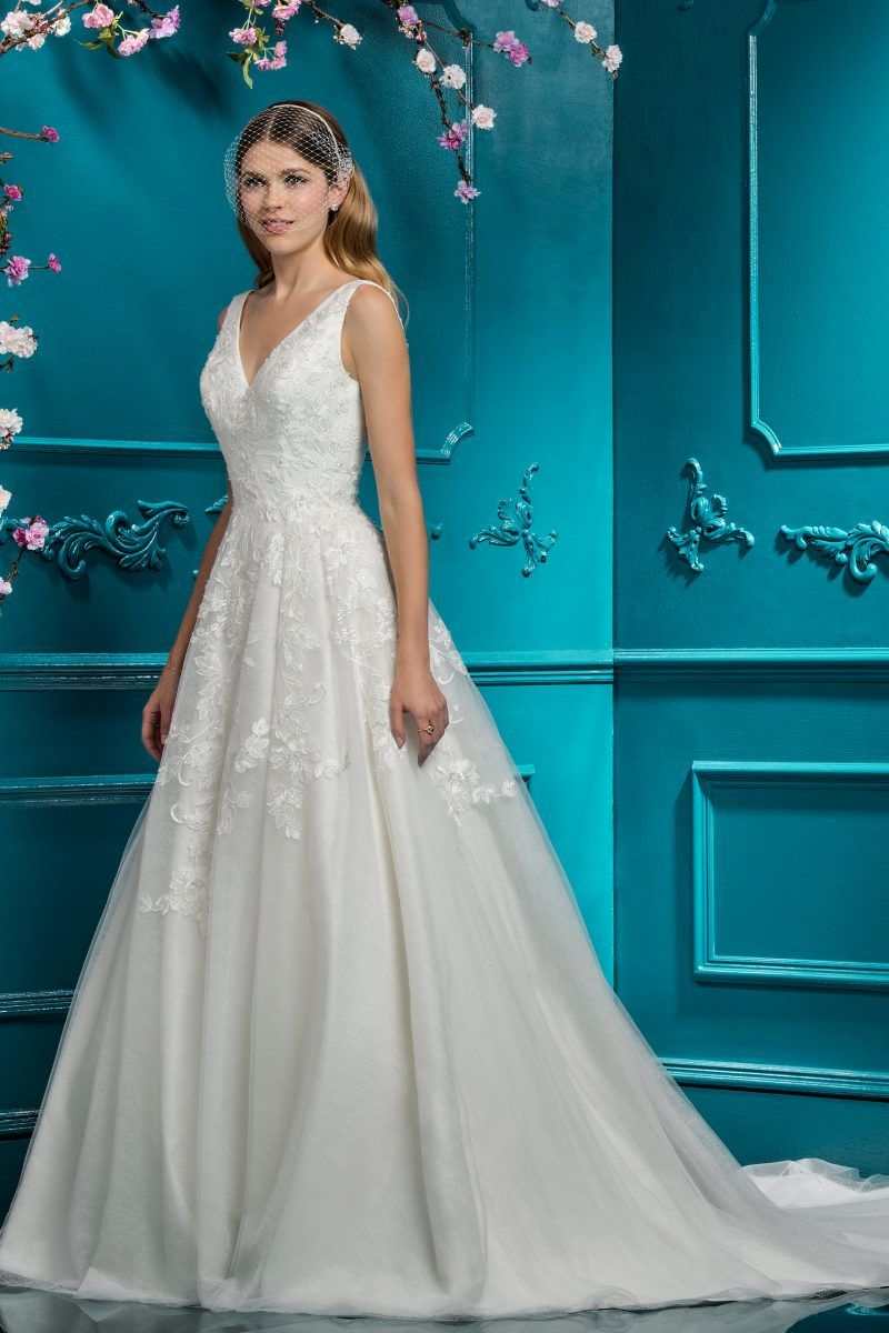 317e8b8c946 Ellis Bridals style 12295 V-neck A-line ballgown wedding dress with low back  and lace details.