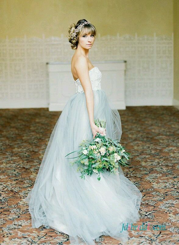 H1538 Pastel blue grey colored woodland tulle wedding dress | weding ...