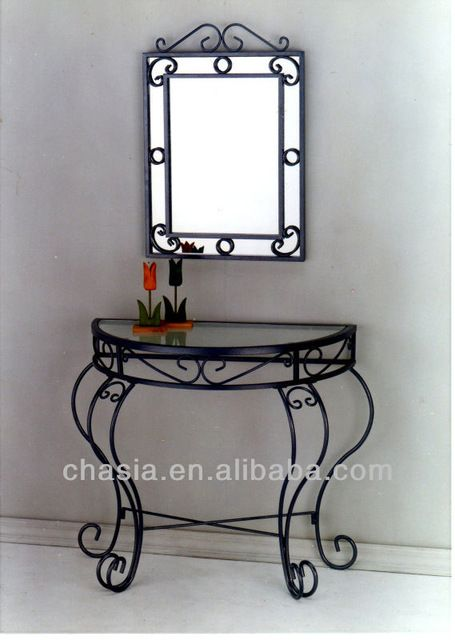 Source Wrought Iron Console Table With Mirror On M Alibaba Com Wrought Iron Chairs Iron Decor Wrought Iron Furniture