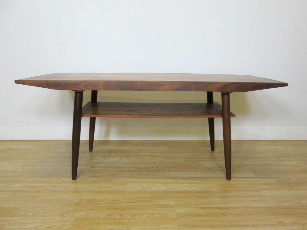 mid century danish teak coffee table with magazine shelf 50s 60s