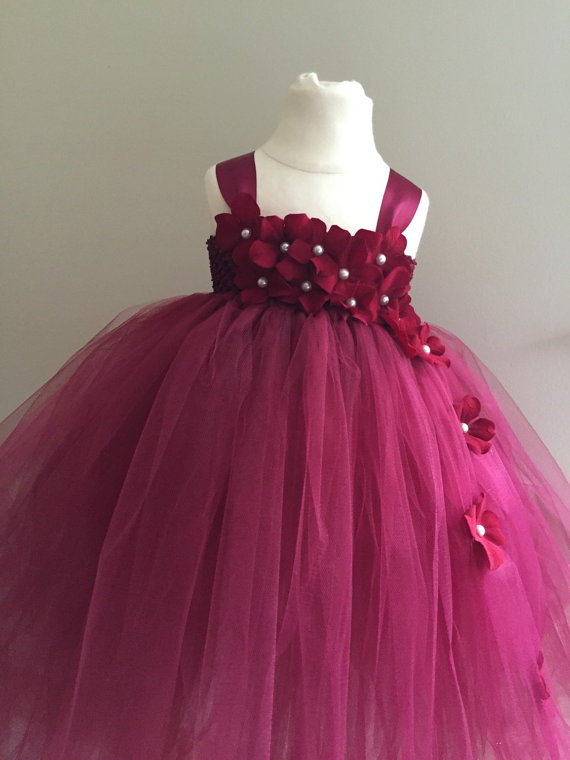 17ebb16aa Burgundy hydrangea tulle flower girl dress girls wedding
