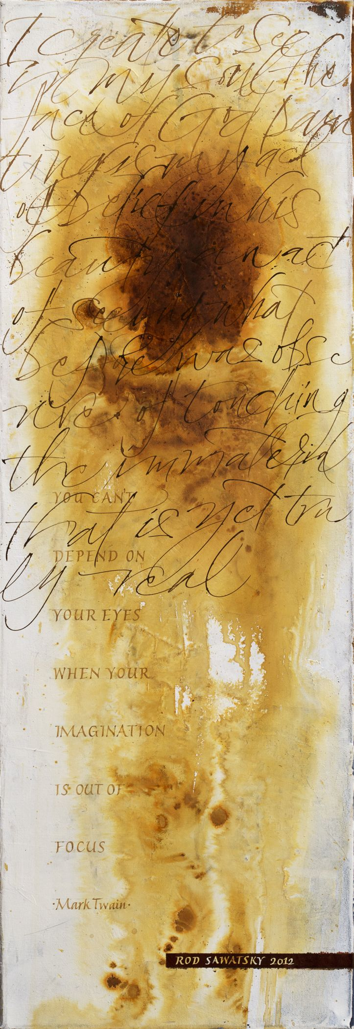 12 x 32 – acrylic inks, gesso,   gouache on canvas.  By Rod Sawatsky.