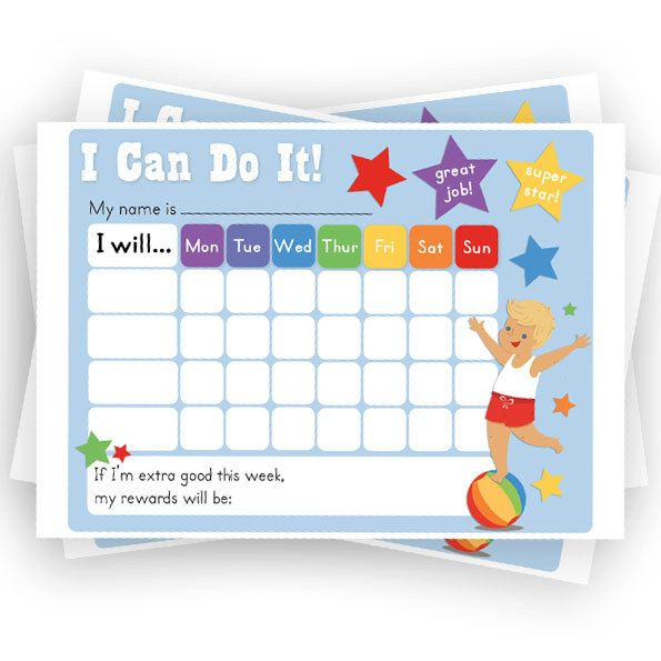 Boys Reward Chart Chore Chart Printable Sticker Chart PDF - child reward chart template