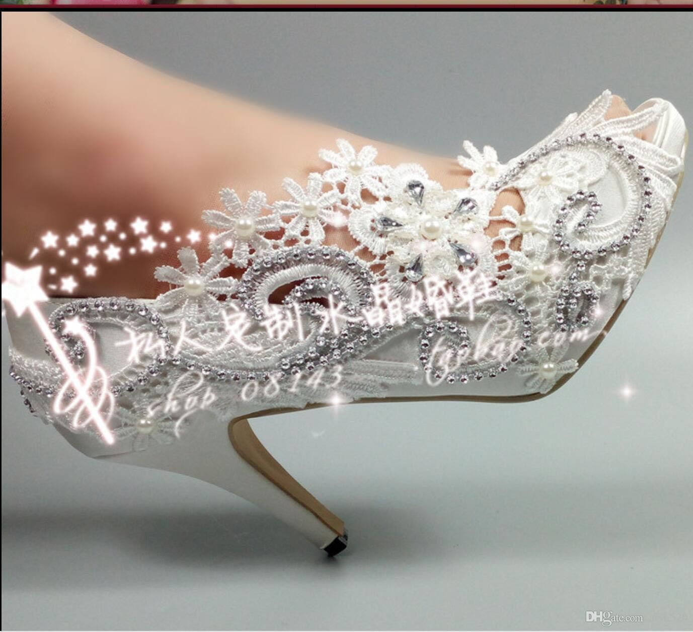 Cheap Peep Toe Lace Bridal Wedding Shoes Shiny Crystal Pearls Daisy  3D Floral Appliques 8 CM High Heel Women Pumps Sandals 2017