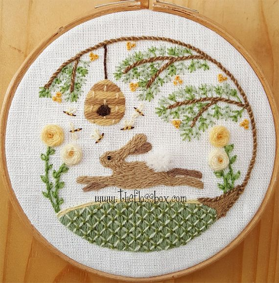 Summer Hare Crewel Embroidery Pattern By Theflossbox On Etsy