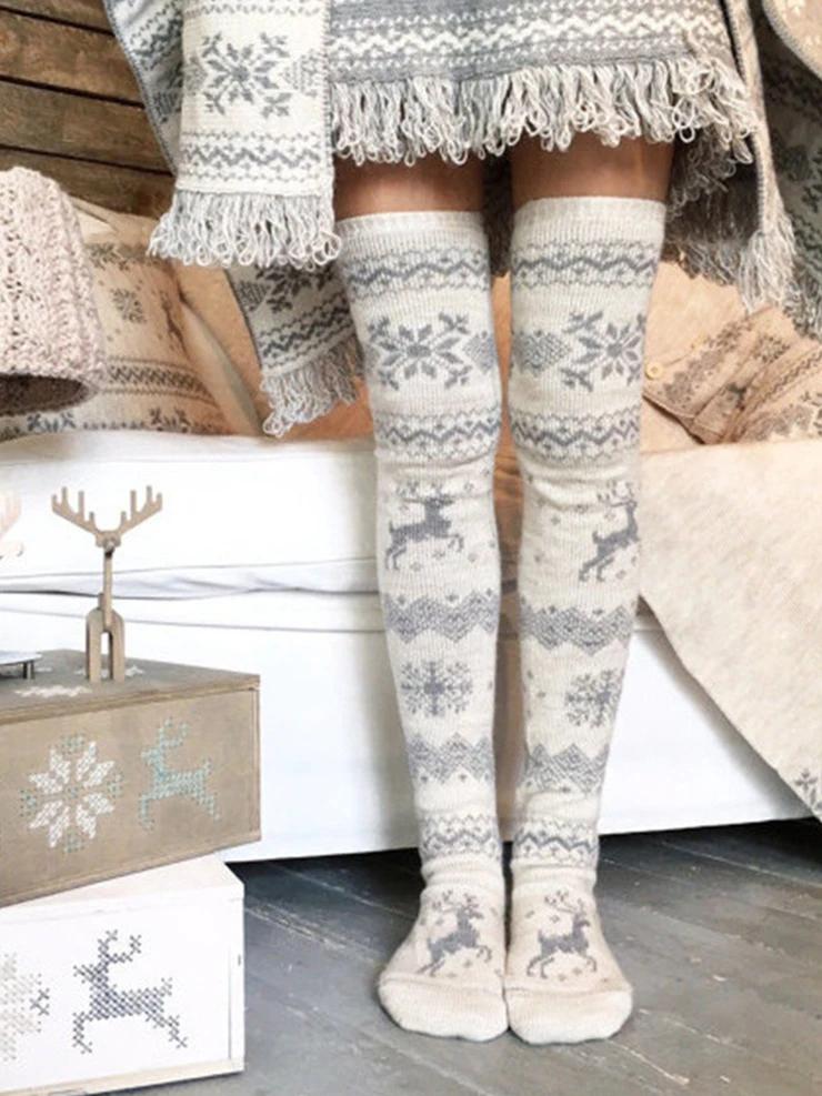 Ladies Knitted Boot Knee Socks Winter Warmer Thigh High Long Stockings Leggings