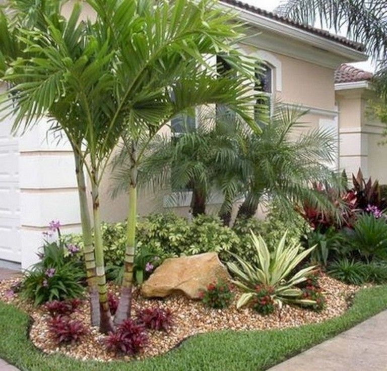 40 Handsome Tropical Front Yard Landscape Ideas For Your Home Florida Landscaping Tropical Garden Design Front Yard Landscaping Design