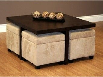 Square Coffee Table With 4 Storage Ottomans A Place To Work