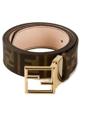 Brown leather belt from Fendi featuring a monogram print, a gold-tone signature brand buckle and a single belt loop.