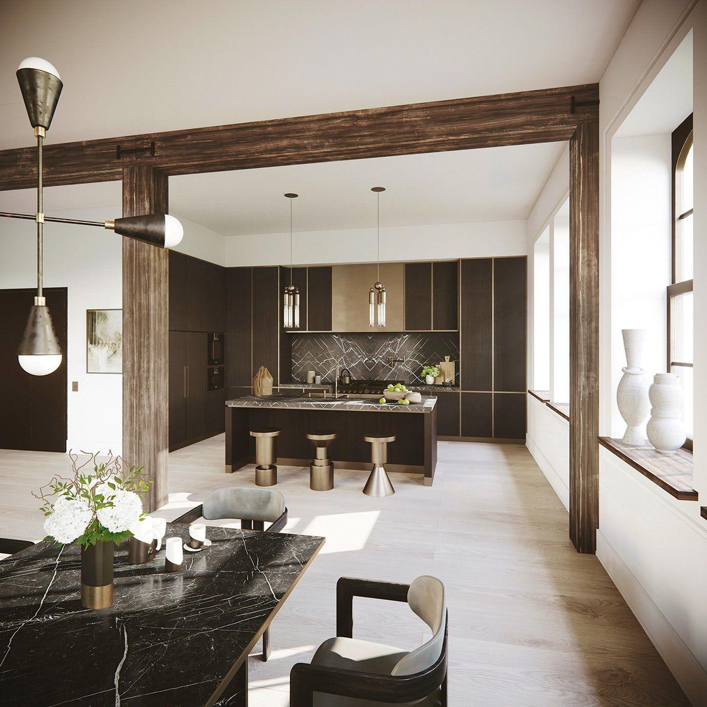 Nyc loft open kitchen kitchen contemporary by djds mutfak