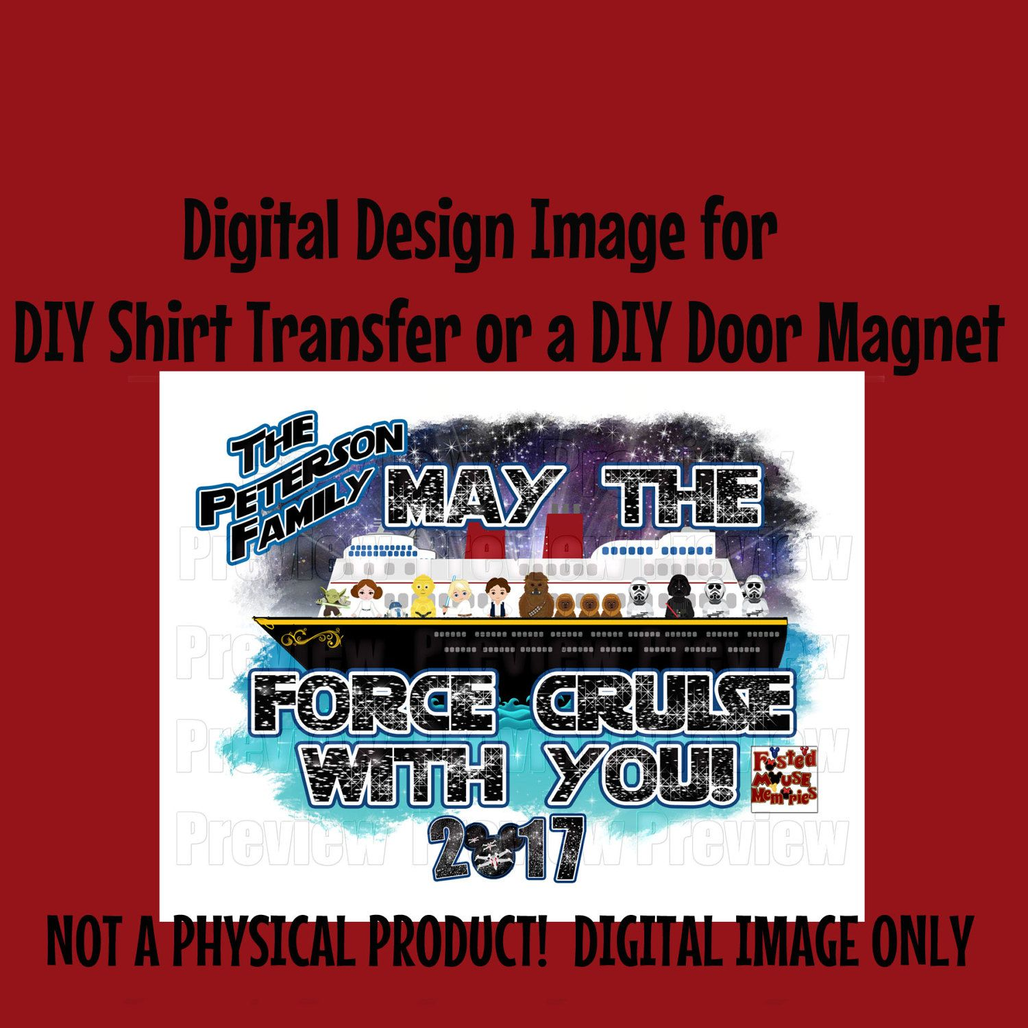 Digital Star Space Wars Family Iron On Transfer Or Door