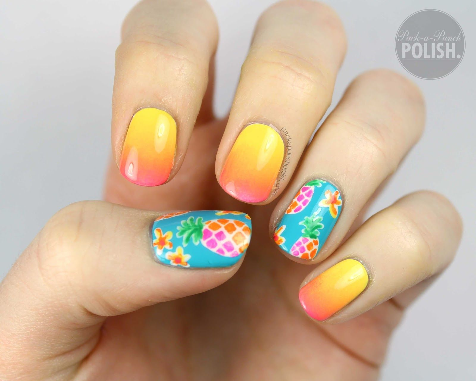 05 pineapple and ombre nail art summer nails pinterest ombre packapunchpolish pineapple and ombre nail art with video tutorial prinsesfo Image collections