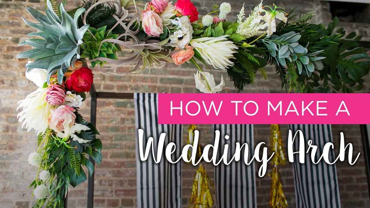 Learn how to make your own wedding arch with faux flowers