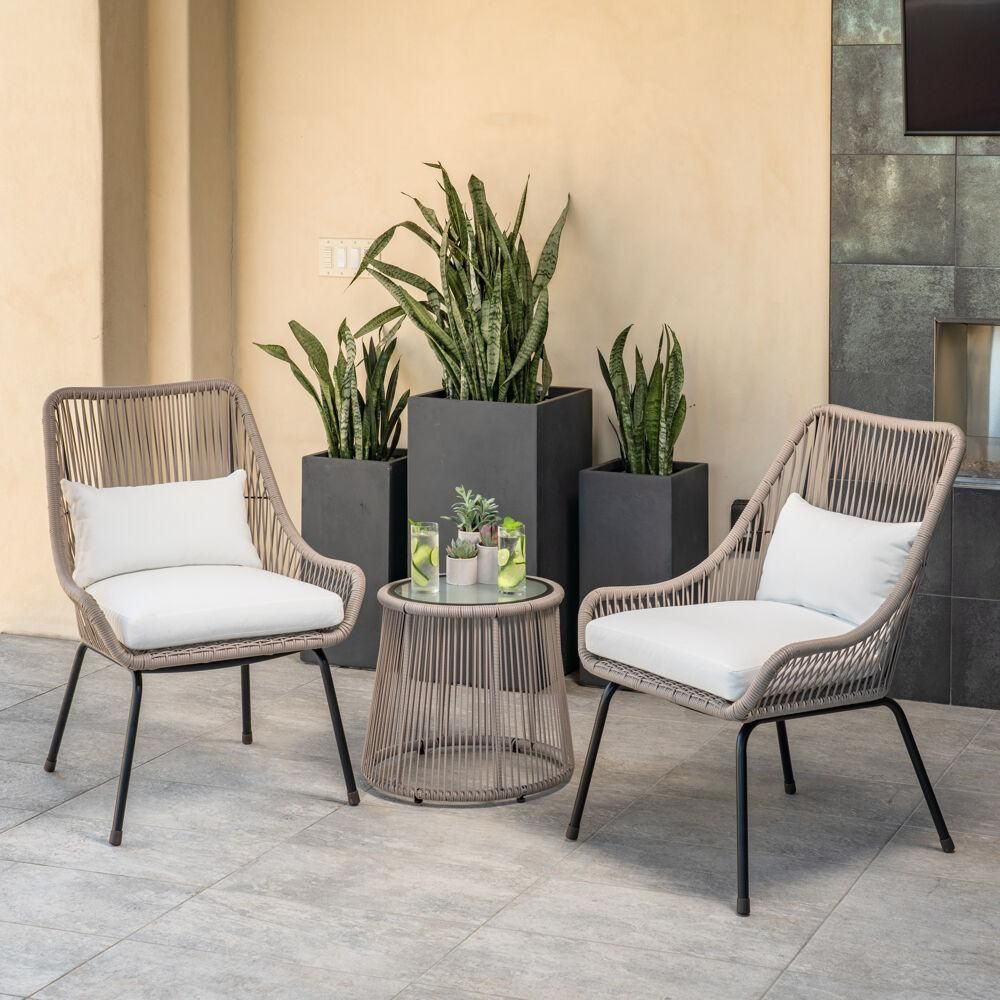 Shae 3 Piece Wicker Patio Conversation Set With White Cushions In 2020 Conversation Set Patio Decorating Small Spaces Mod Furniture