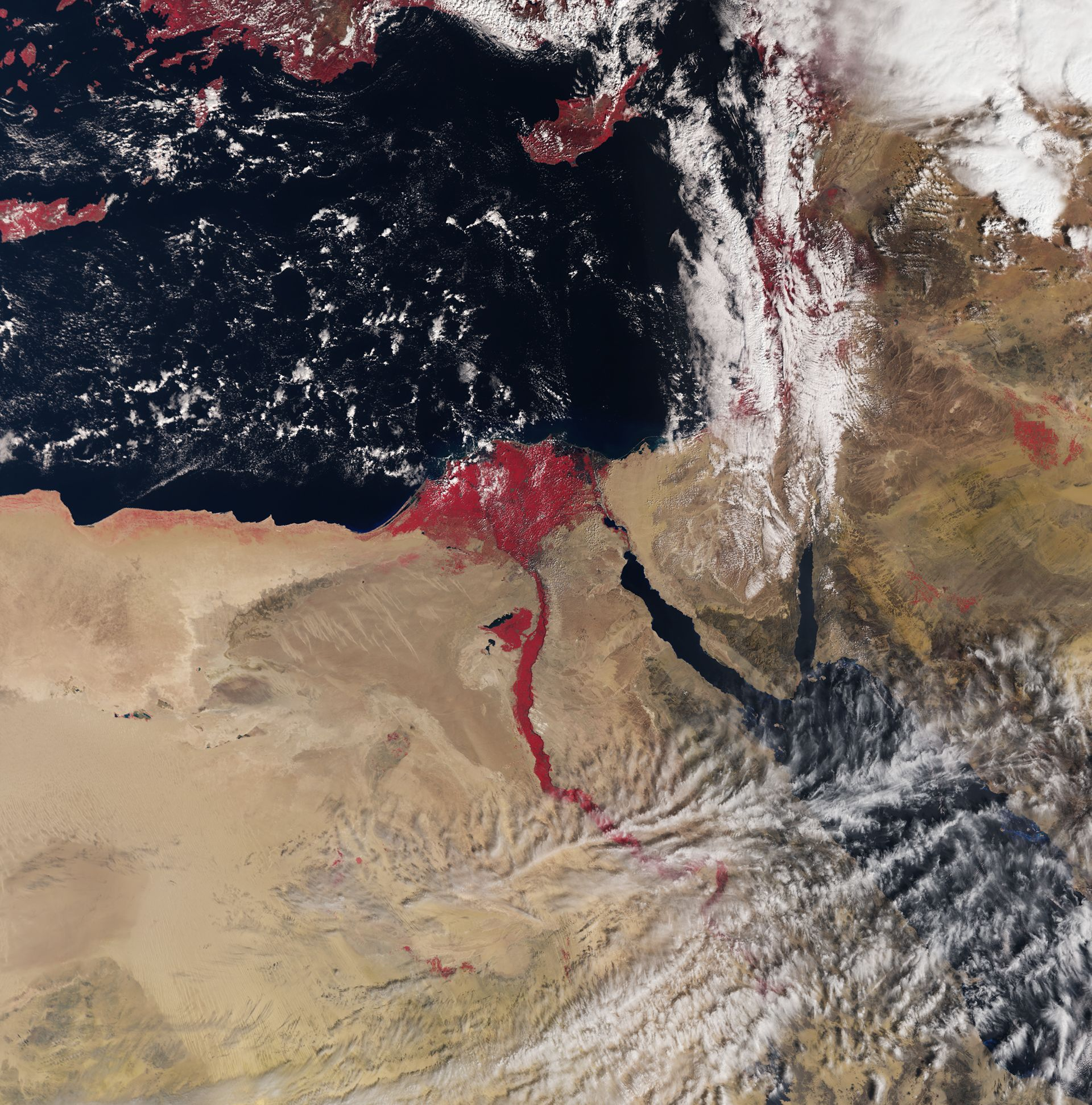 Egypt's River Nile and Delta by ESA from Sentinel-3A satellite. (The red dots represent the green plant regions)