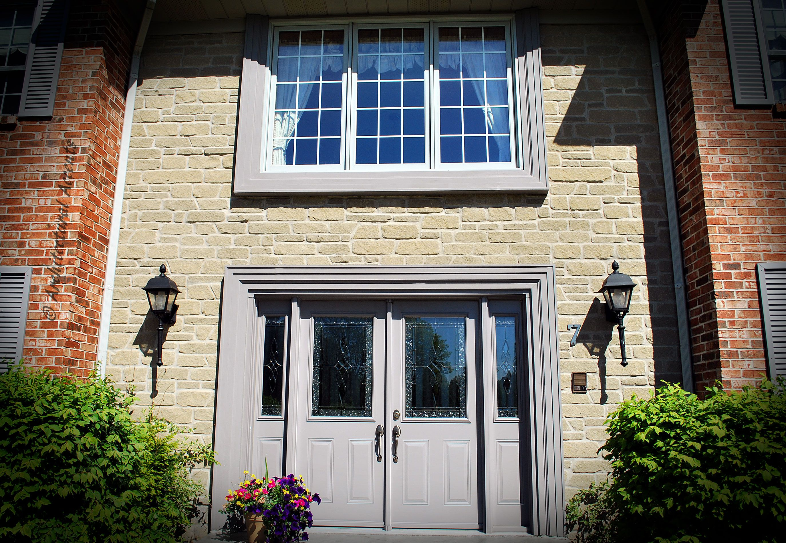 Steel Fixed Windows : Triple fixed wood clad combination gray exterior and