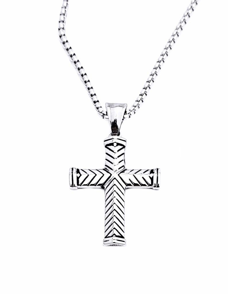 Men S Chevron Cross Necklace Men S Silver Etsy Cross Pendant Necklace Men Men Necklace Silver Man