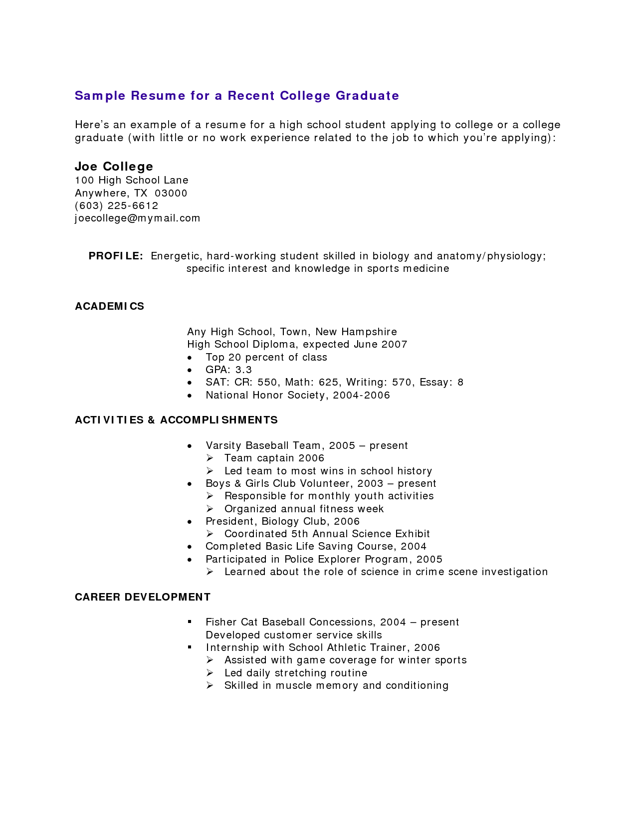 resume for recent college graduate template