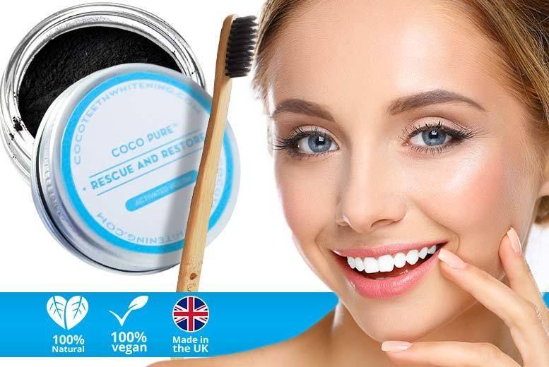 Charcoal Super Teeth-Whitening Powder & Bamboo Charcoal Brush