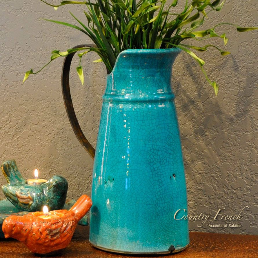 Turquoise Kitchen Vases | Tuscan Decorating Accessory: Country French  Turquoise Vase