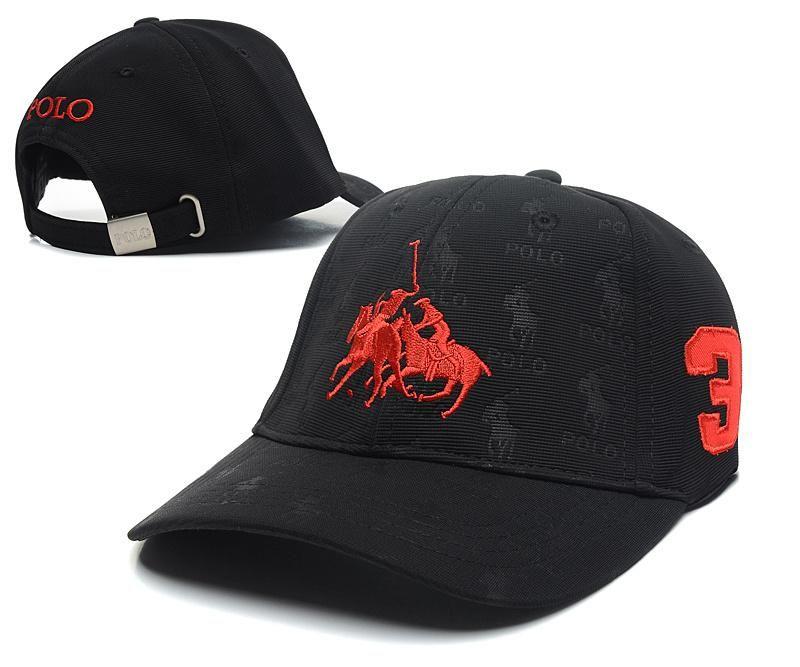 5f61e327eb3 Men s   Women s Unisex Polo Ralph Lauren Dual Match 2 Pony Logo  3 Strap  Back Adjustable Rubgy Hat - Black   Red