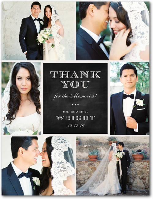 Chalked Affair Thank You Postcards in Light Gray or Tea Rose – Wedding Paper Divas Thank You Cards
