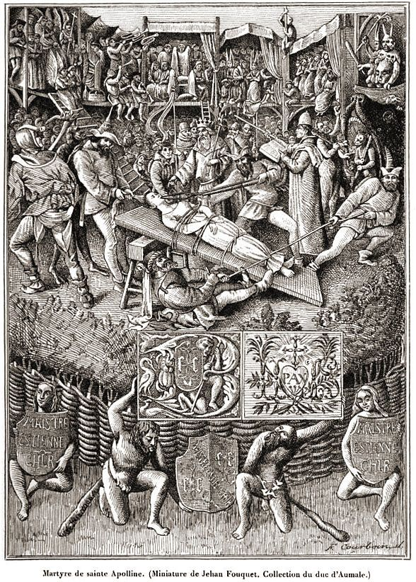 c.1460 Scene from the Martyrdom of St. Apollonia. From Bapst, Essai sur l'Histoire du Théâtre (1893)