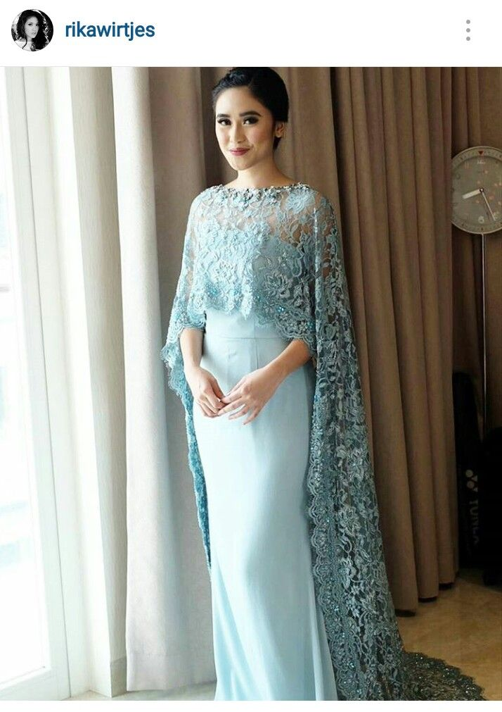 Such a pretty dress and what a lovely blue color batik for Muslim wedding guest dresses
