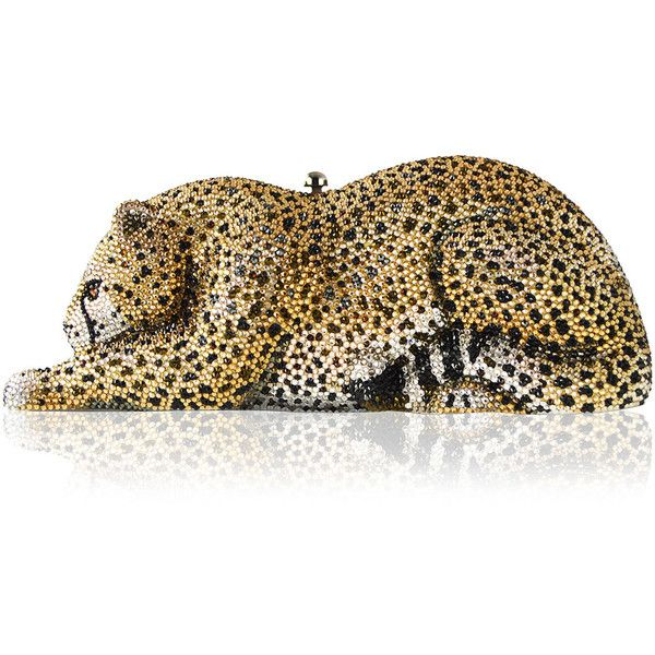 76ab45c73270 Judith Leiber Couture Crystal-Embellished Wildcat Clutch Bag ($5,495) ❤  liked on Polyvore featuring bags, handbags, clutches, gold, judith leiber  purses, ...