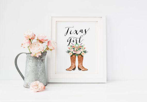 Printable Art Texas Girl Boho Shabby Chic Wall Decor Rustic Home Print Country Nursery Cowgirl