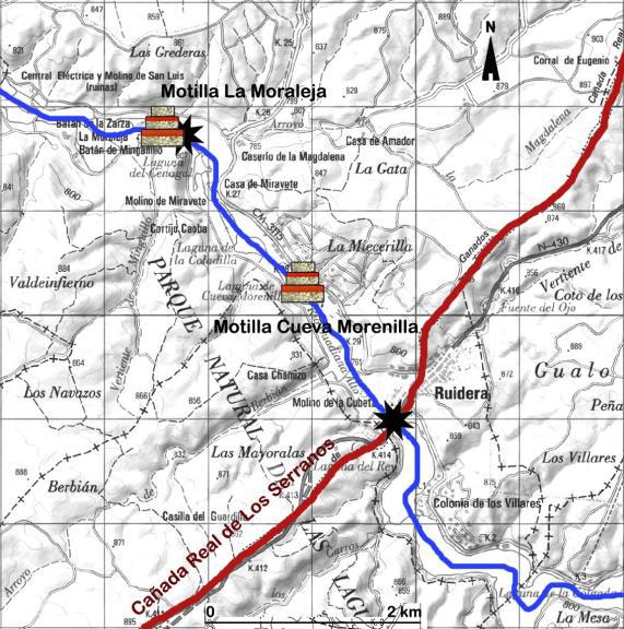 Mapa con la ubicación de las motillas La Moraleja y Cueva Morenilla