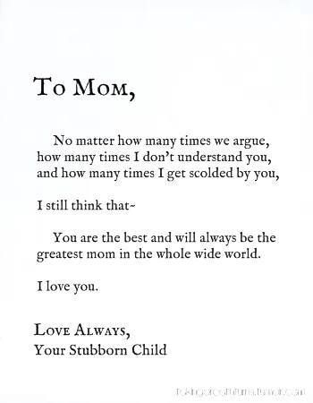 To mom from your stubborn child | Thank you mom quotes, Mom ...