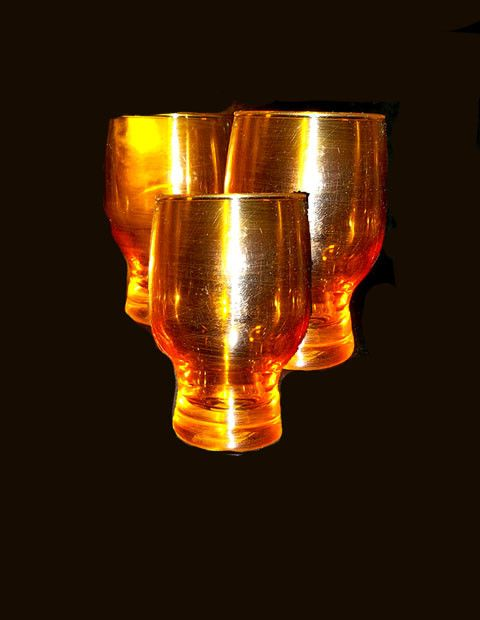 Amber Colored Juice Glasses.