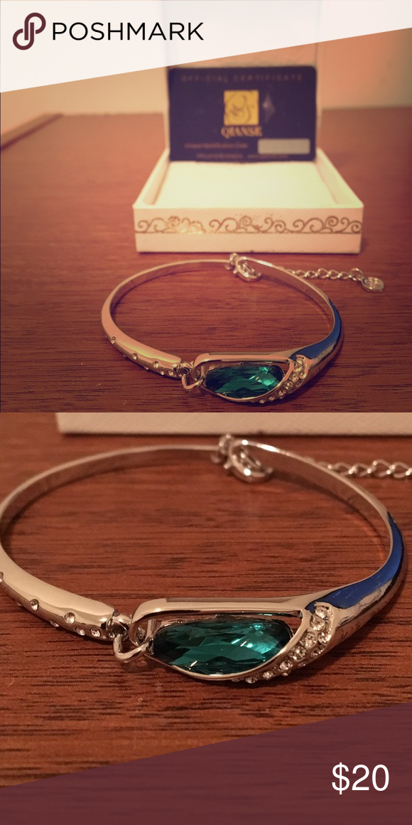 "Qianse ""Glass Slipper"" 7 inches bangle. Qianse ""Glass Slipper"" bracelet with blue crystal. Easy and secure clasp. Jewelry Bracelets"