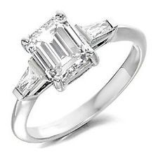 3.27 Ct.Three Stone Emerald & Baguette Cut Diamond Engagement Ring G,VS1 EGL