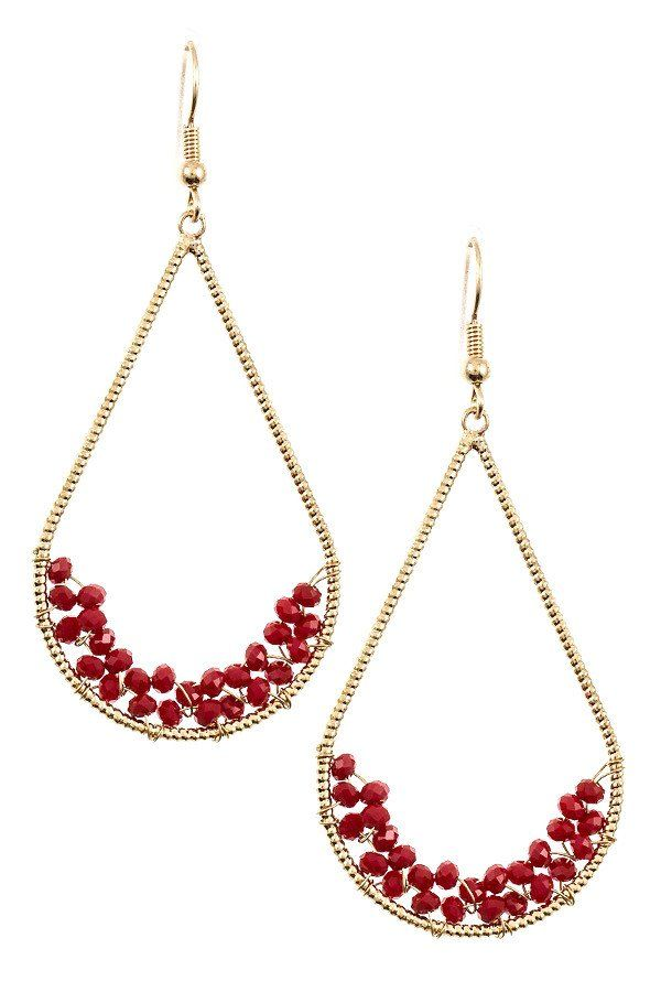 Teardrop Dangle Earrings With Bottom Cer Beads Beaded Burgundy