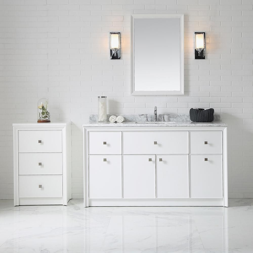 Martha Stewart Living Parrish 60 In W X 22 In D Bath Vanity In Bright White With Marble Bathroom Vanities Without Tops Marble Vanity Tops Main Bathroom Ideas