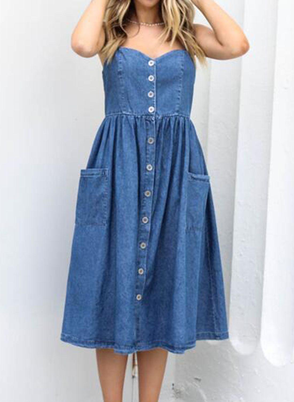 90s Blue Denim Dress  Summer Denim Dress  Medium Denim Dress  Button Up Dress  Gallicia Woman Dress  Midi Dress  Vintage Blue Dress