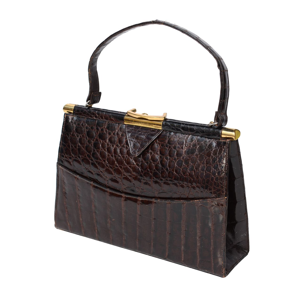 Brown or black vintage antique calf English leather purse