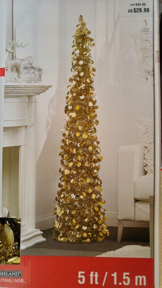 Ashland Christmas Trees.Ashland Christmas Collapsible Tinsel Tree 5 Ft Gold New