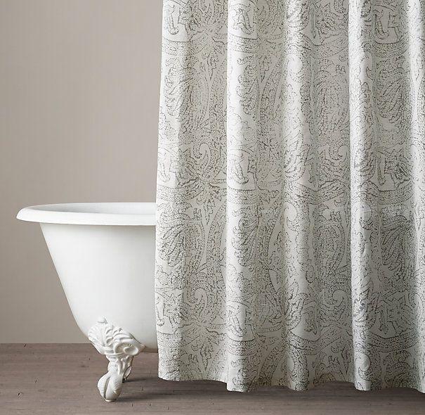Italian Distressed Scroll Linen Shower Curtain Extra Long Shower