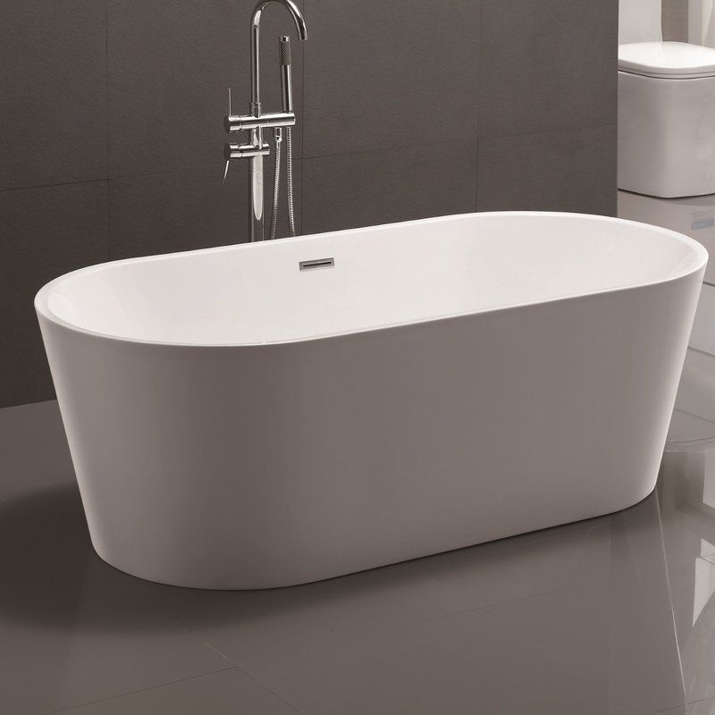 amazing bathtub deal freestanding brushed overflow acrylic woodbridge shop inch and with modern drain nickel on
